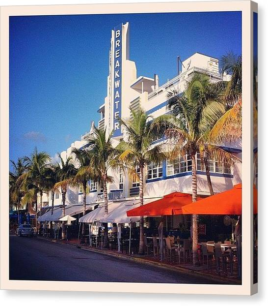 Art Deco Canvas Print - Breakwater Hotel At Ocean Drive by Sebastiaan Van der Graaf