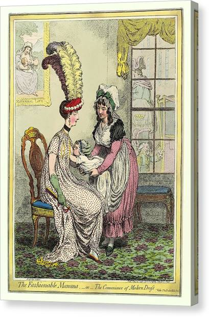 Breastfeeding, 18th-century Caricature Canvas Print by Miriam And Ira D. Wallach Division Of Art, Prints And Photographsnew York Public Library