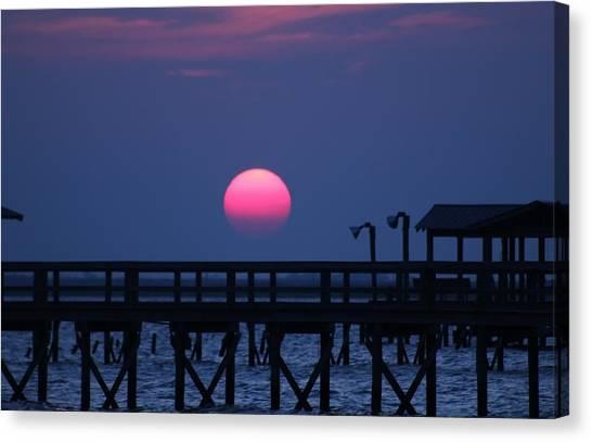 Breathtaking Sunset Over Calcasieu Lake Pier Canvas Print by Debi York