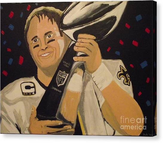 Drew Brees Canvas Print - Brees And Lombardi by Simon Hardesty