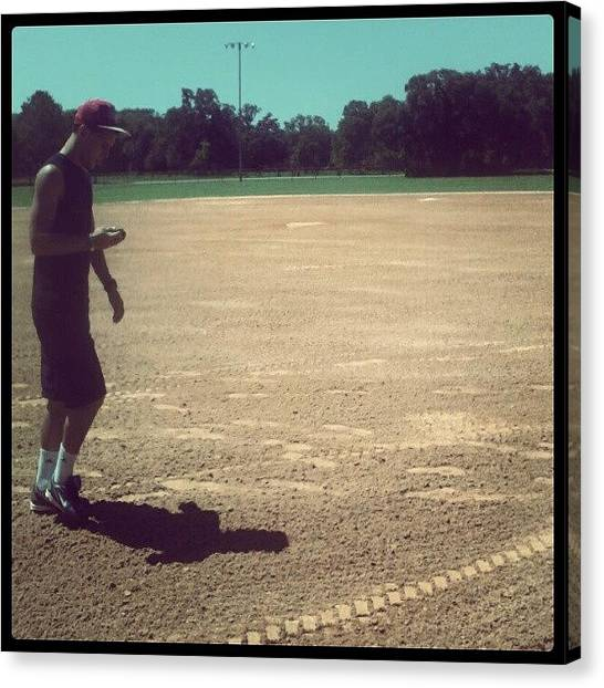 Bat Canvas Print - @brenden_drummond #baseball #field by Andrew Brunelle
