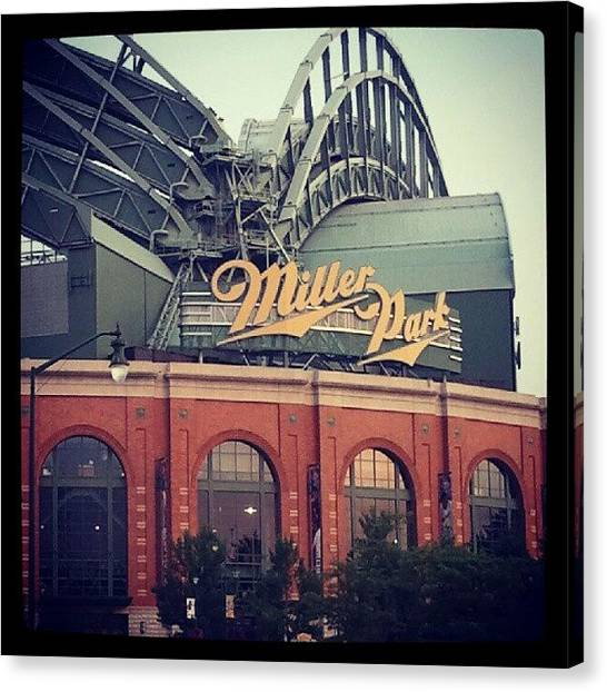 Wisconsin Canvas Print - Brewers Game @ Miller Park In Milwaukee by David Conway