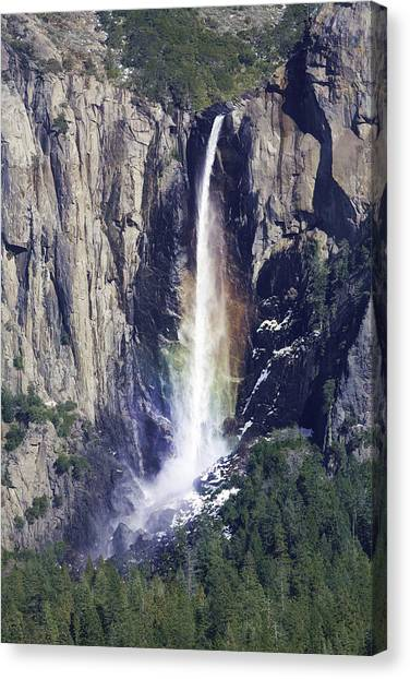 Bridal Veil Falls Rainbow In Yosemite Canvas Print