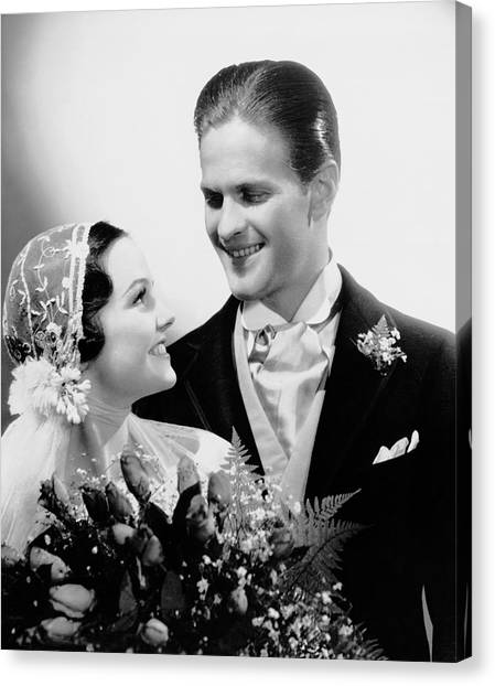 Bride & Groom Gazing At One Another Canvas Print by George Marks