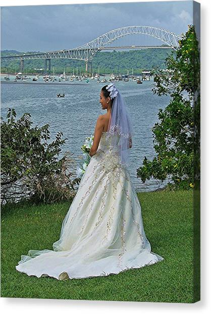 Bride And Bridge Canvas Print