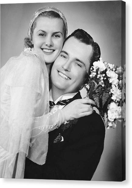Bride And Groom, Portrait Canvas Print by George Marks