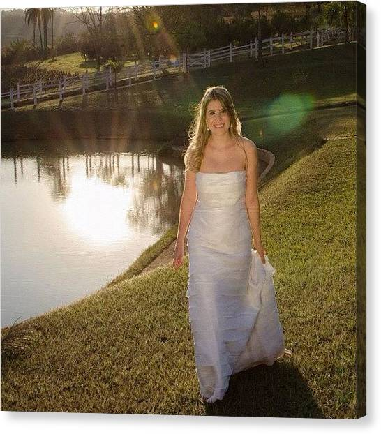 Groom Canvas Print - Bride At Sunset by Adriana Guimaraes