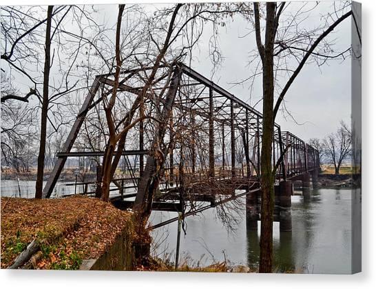 Bridge At Winter Canvas Print by Brenda Becker