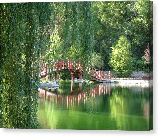 Bridge Beyond The Willows Canvas Print