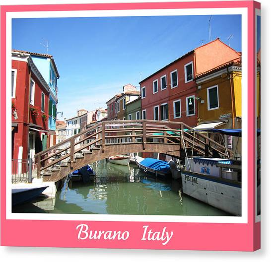 Bridge Crossing   Burano  Italy  Canvas Print