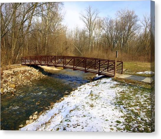 Bridge Over The Creek In Winter Canvas Print by Mike Stanfield