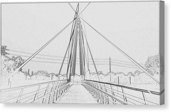 Bridge Sketch Canvas Print by David Alvarez