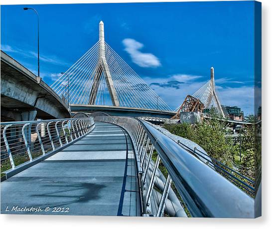 Bridges Meetting Canvas Print by Lauren MacIntosh