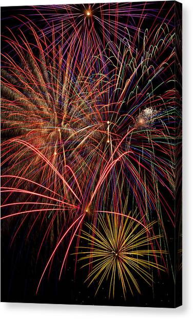 Pyrotechnics Canvas Print - Bright Colorful Fireworks by Garry Gay