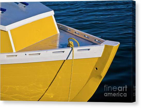 Bright Yellow Boat Canvas Print