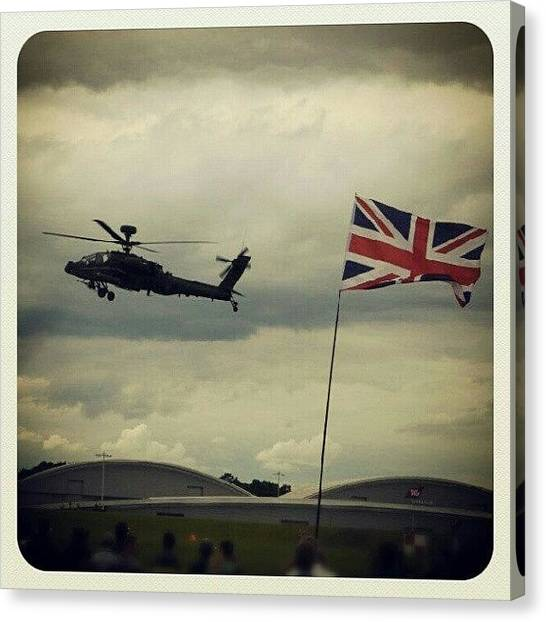 Army Canvas Print - #british #aac #apache Gunship At by Henry Wisdom