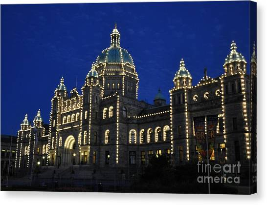 British Columbia Parliament Building At Night Canvas Print by Tanya  Searcy