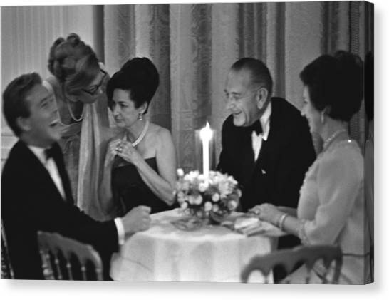 Lyndon Johnson Canvas Print - British Royals At The White House. L-r by Everett