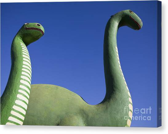 Brontosaurus Canvas Print - Brontosaurus Dinosaur Statues by Paul Edmondson