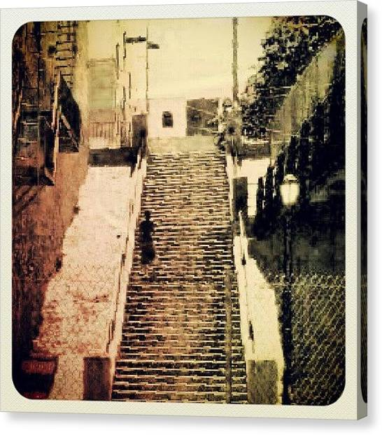 Fighting Canvas Print - #bronx #stairs #inspiration #summer by Radiofreebronx Rox