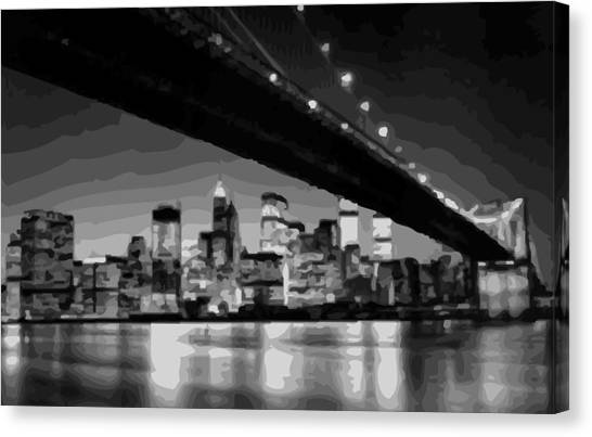 Brooklyn Bridge @ Night Bw16 Canvas Print