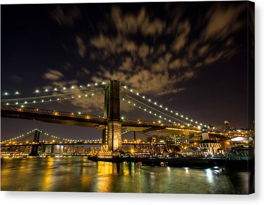 Brooklyn Bridge And Waterfront Canvas Print by John Dryzga