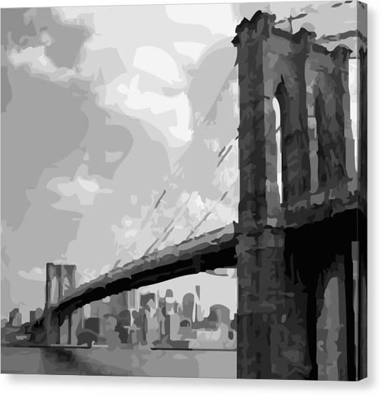 Brooklyn Bridge Bw16 Canvas Print