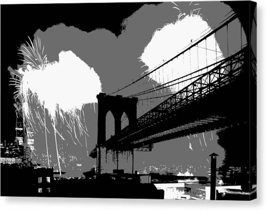 Brooklyn Bridge Fireworks Bw3 Canvas Print
