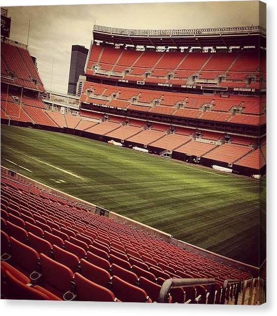Football Teams Canvas Print - Browns Stadium by Claudia Schieve