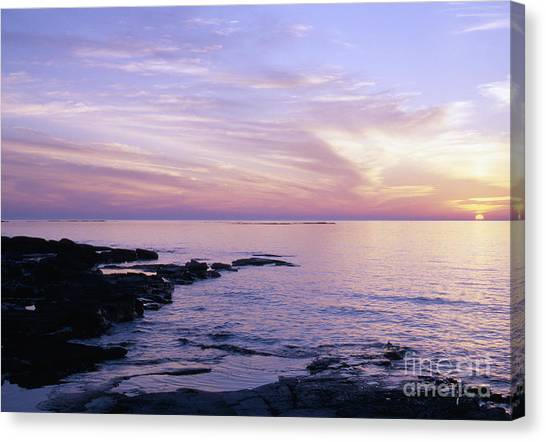 Sunset Horizon Canvas Print - Bruce Peninsula And Lake Huron Near Tobermory At Sunset by Gordon Wood