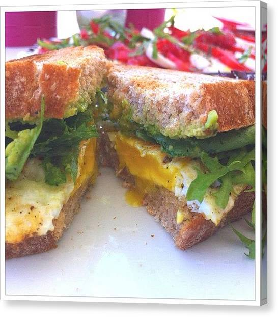 Vegetarian Canvas Print - Brunch! Heirloom Tomato Mozzarella by Jennifer Augustine