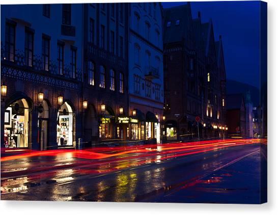 Bryggen Lights Canvas Print by A A