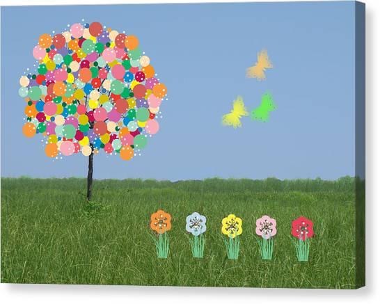 Bubblegum Tree Canvas Print by Rosalie Scanlon