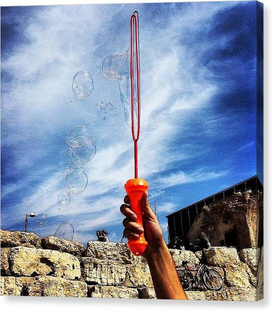Red Rock Canvas Print - #bubbles #red #clouds #sky #happy by Alon Ben Levy