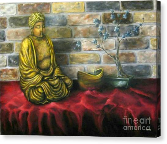 Buddha And Candle Canvas Print by Patricia Lang