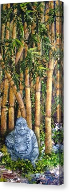 Buddha In The Bamboo Garden Canvas Print by Annie St Martin
