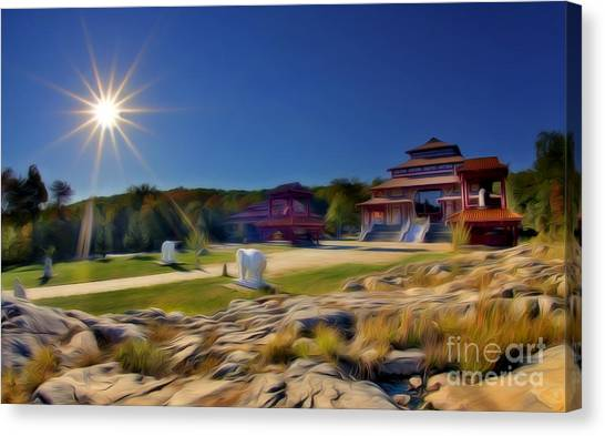 Yen Canvas Print - Buddhist Temple At Sunset by Susan Candelario