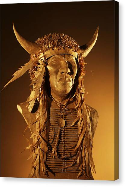 Buffalo Warrior Canvas Print by Monte Burzynski