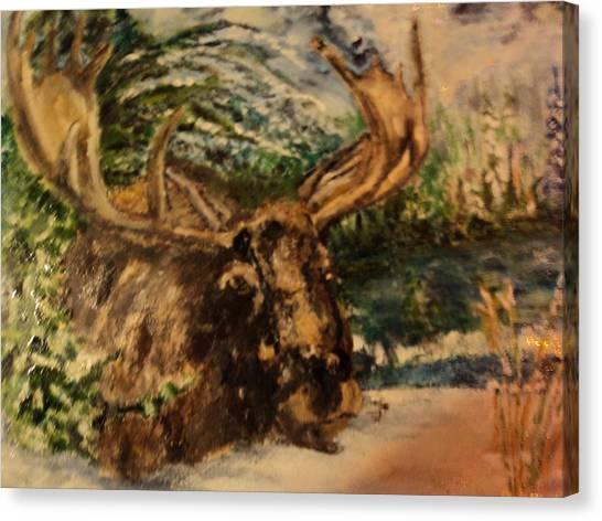 Bull Moose Canvas Print by Lynn Welker