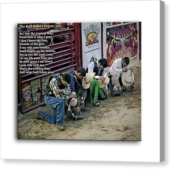 Take A Knee Canvas Print - Bull Riders Prayer - With Prayer Text by Brian Wallace
