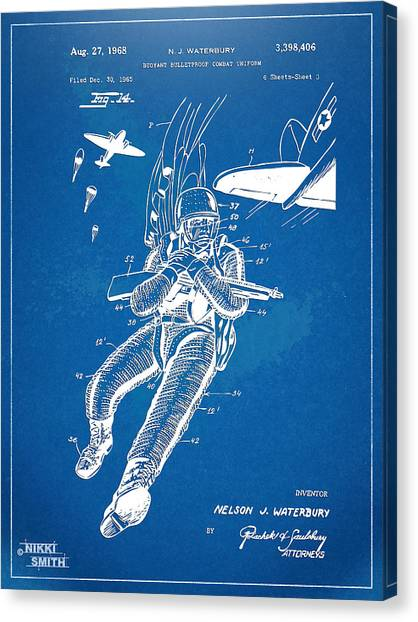 Navy Seal Canvas Print - Bulletproof Patent Artwork 1968 Figure 14 by Nikki Marie Smith