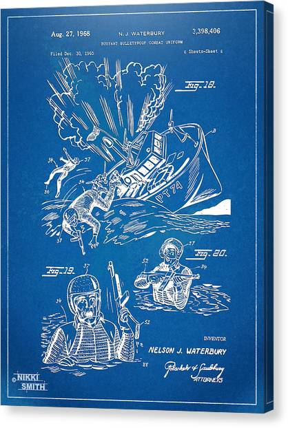 Navy Seal Canvas Print - Bulletproof Patent Artwork 1968 Figures 18 To 20 by Nikki Marie Smith