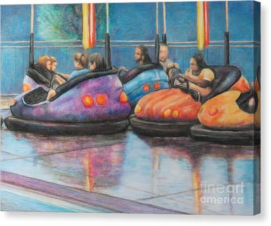 Bumper Car Traffic Jam Canvas Print by Charlotte Yealey