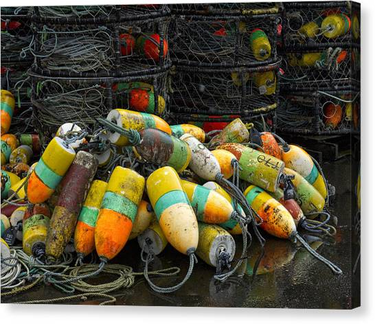 Crabbing Canvas Print - Buoys And Crabpots On The Oregon Coast by Carol Leigh