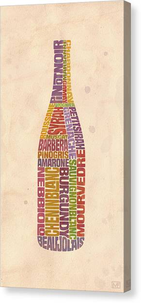 Winery Canvas Print - Burgundy Wine Word Bottle by Mitch Frey