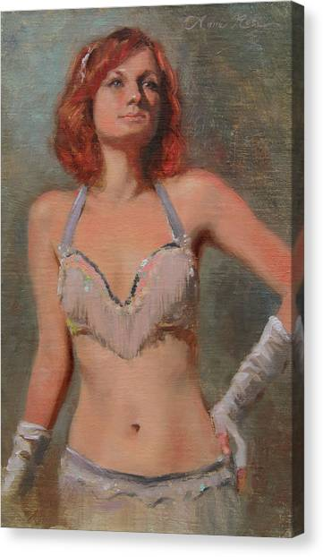 Redhead Canvas Print - Burlesque Dancer by Anna Rose Bain
