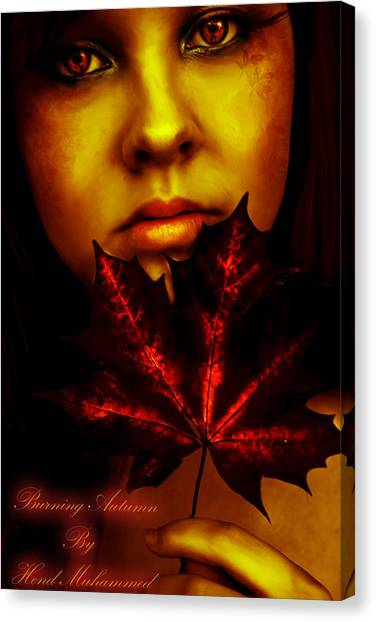 Burning-autumn Canvas Print by Hend