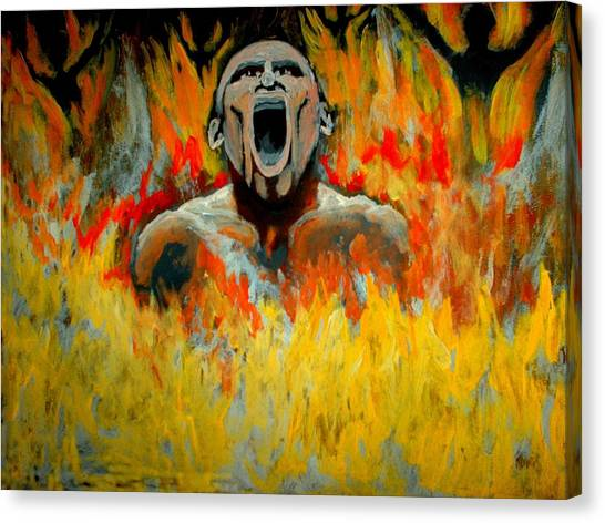 Burning In Hell Canvas Print by Anthony Renardo Flake