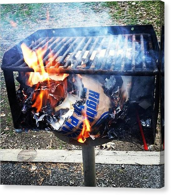 Grills Canvas Print - #burning #papers Told This Was The by S Smithee