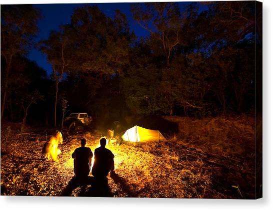 Bush Camp At Midway Waterhole Canvas Print by Johnny Haglund